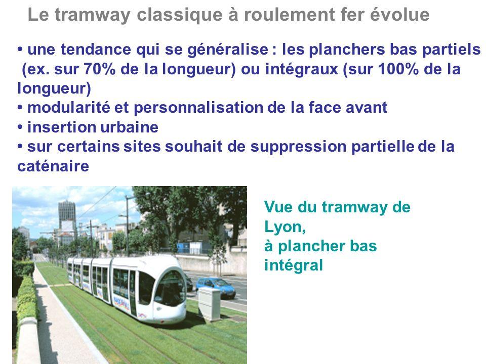 Le tramway classique à roulement fer évolue Vue du tramway de Lyon, à plancher bas intégral une tendance qui se généralise : les planchers bas partiels (ex.