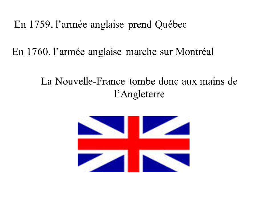 En 1759, larmée anglaise prend Québec En 1760, larmée anglaise marche sur Montréal La Nouvelle-France tombe donc aux mains de lAngleterre
