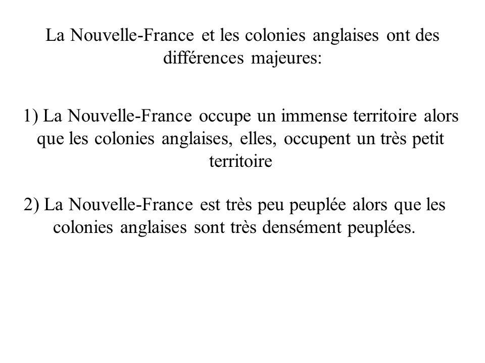La Nouvelle-France et les colonies anglaises ont des différences majeures: 1) La Nouvelle-France occupe un immense territoire alors que les colonies anglaises, elles, occupent un très petit territoire 2) La Nouvelle-France est très peu peuplée alors que les colonies anglaises sont très densément peuplées.