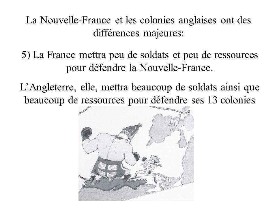 La Nouvelle-France et les colonies anglaises ont des différences majeures: 5) La France mettra peu de soldats et peu de ressources pour défendre la Nouvelle-France.