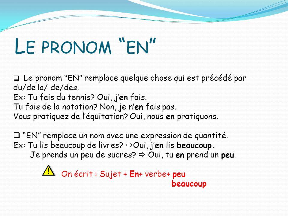 L E PRONOM EN Le pronom EN remplace quelque chose qui est précédé par du/de la/ de/des.