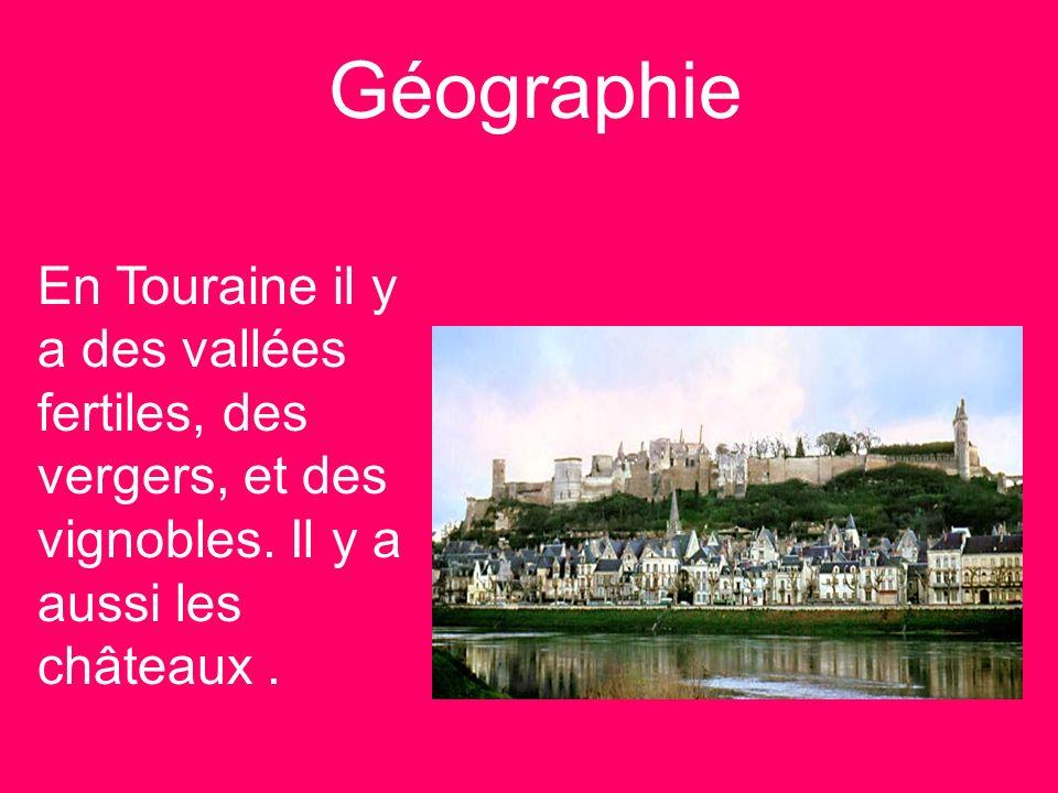 Géographie En Touraine il y a des vallées fertiles, des vergers, et des vignobles. Il y a aussi les châteaux.