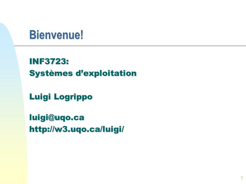 1 Bienvenue! INF3723: Systèmes dexploitation Luigi Logrippo luigi@uqo.cahttp://w3.uqo.ca/luigi/