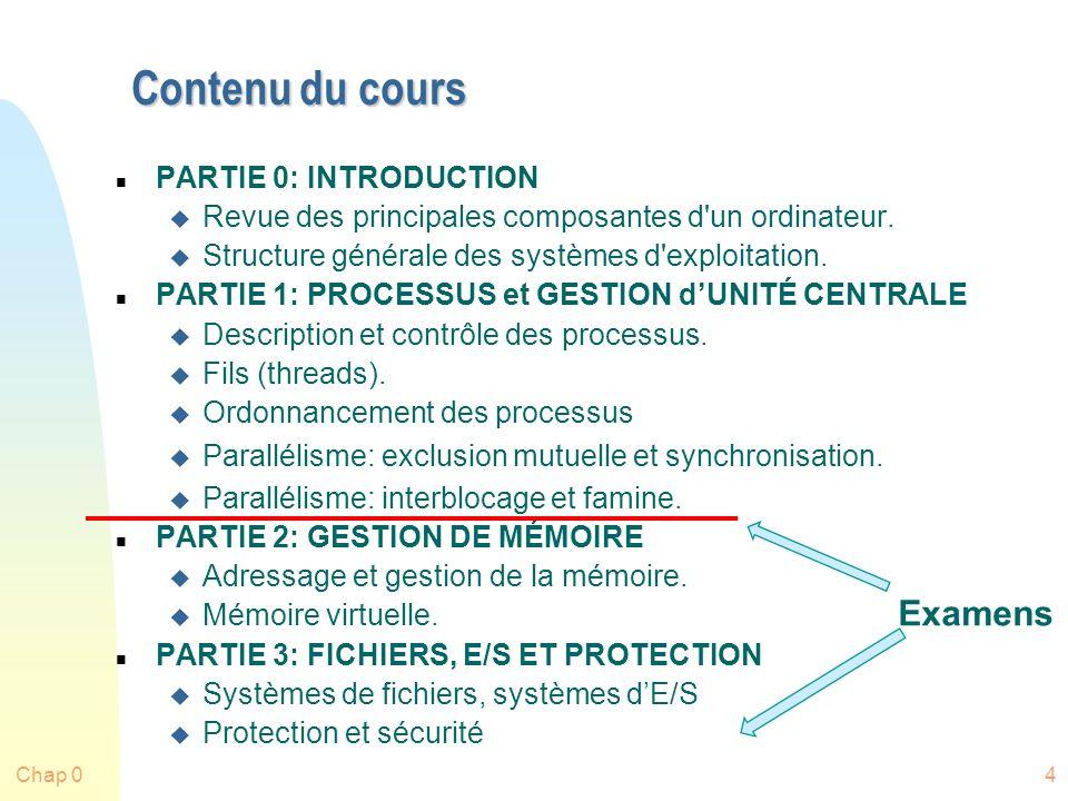 Chap 04 Contenu du cours n PARTIE 0: INTRODUCTION u Revue des principales composantes d un ordinateur.