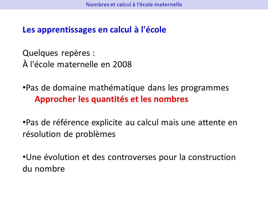 Les apprentissages en calcul à l'école Quelques repères : À l'école maternelle en 2008 Pas de domaine mathématique dans les programmes Approcher les q