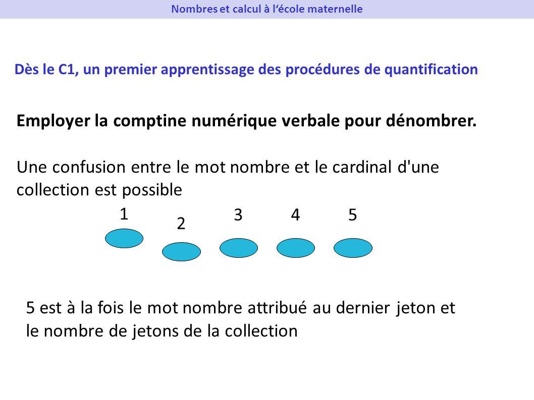 Employer la comptine numérique verbale pour dénombrer. Une confusion entre le mot nombre et le cardinal d'une collection est possible 1 2 345 5 est à