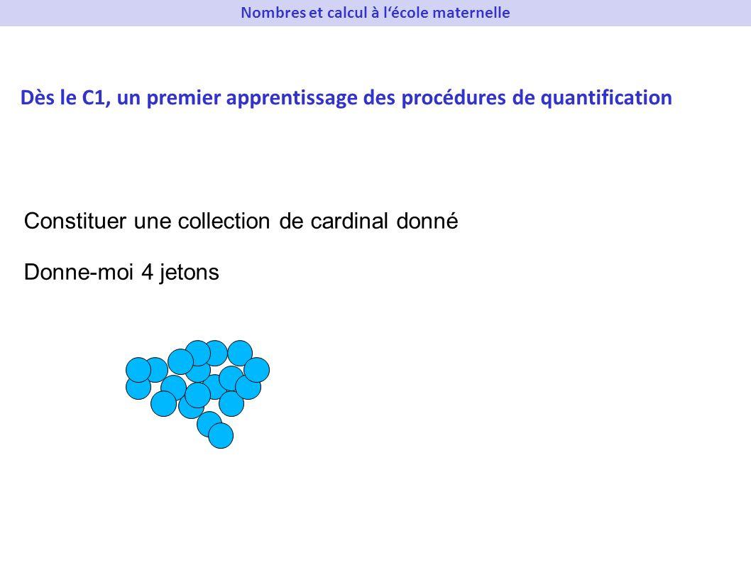 Constituer une collection de cardinal donné Donne-moi 4 jetons Dès le C1, un premier apprentissage des procédures de quantification Nombres et calcul