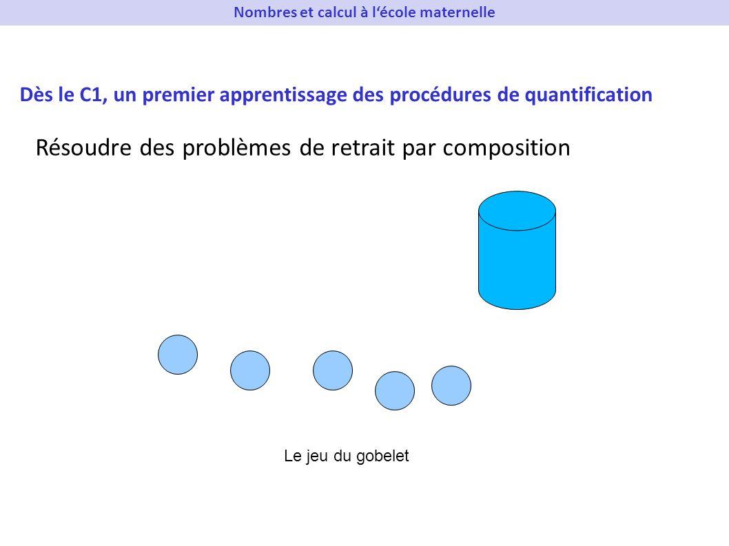 Dès le C1, un premier apprentissage des procédures de quantification Résoudre des problèmes de retrait par composition Le jeu du gobelet Nombres et ca