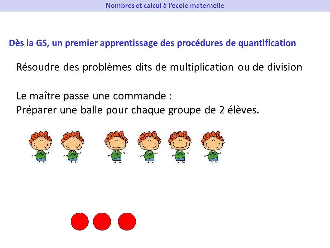 Dès la GS, un premier apprentissage des procédures de quantification Résoudre des problèmes dits de multiplication ou de division Le maître passe une