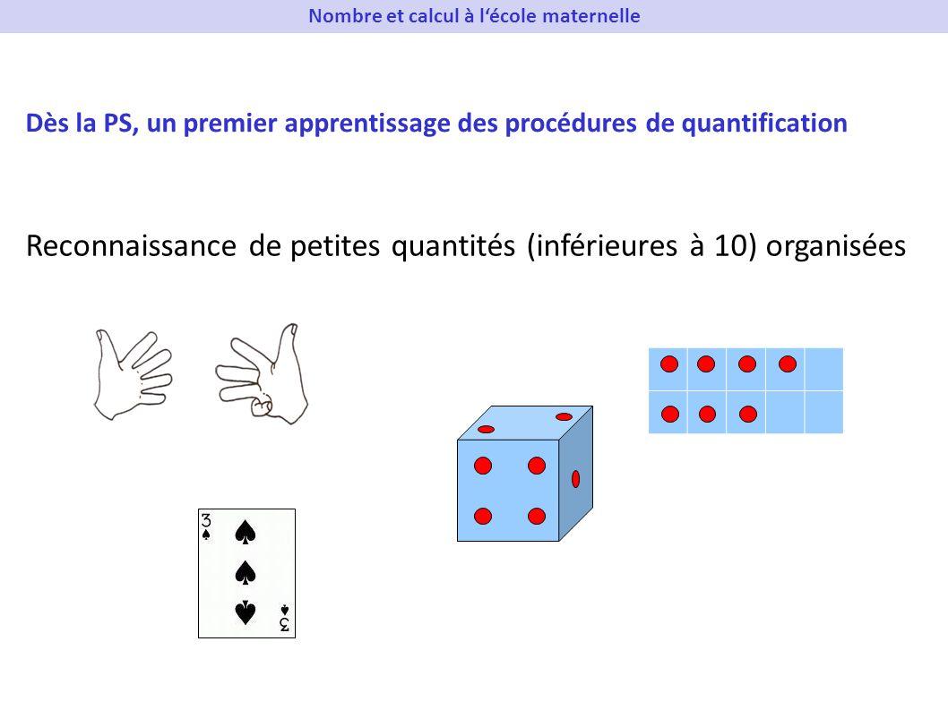 Reconnaissance de petites quantités (inférieures à 10) organisées Dès la PS, un premier apprentissage des procédures de quantification Nombre et calcu