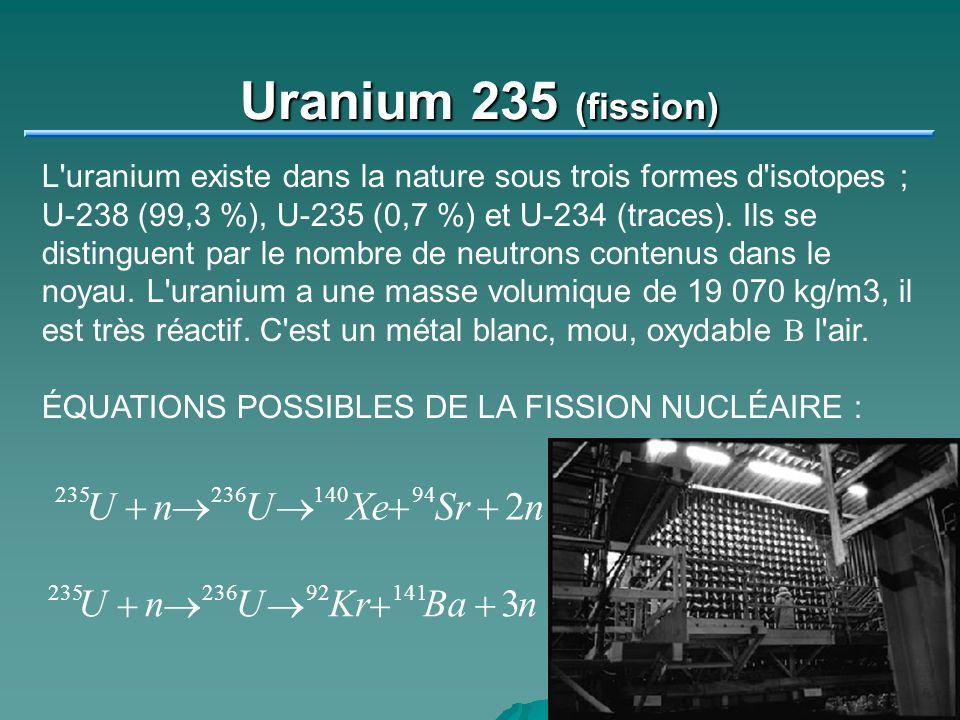 Uranium 235 (fission) L'uranium existe dans la nature sous trois formes d'isotopes ; U-238 (99,3 %), U-235 (0,7 %) et U-234 (traces). Ils se distingue