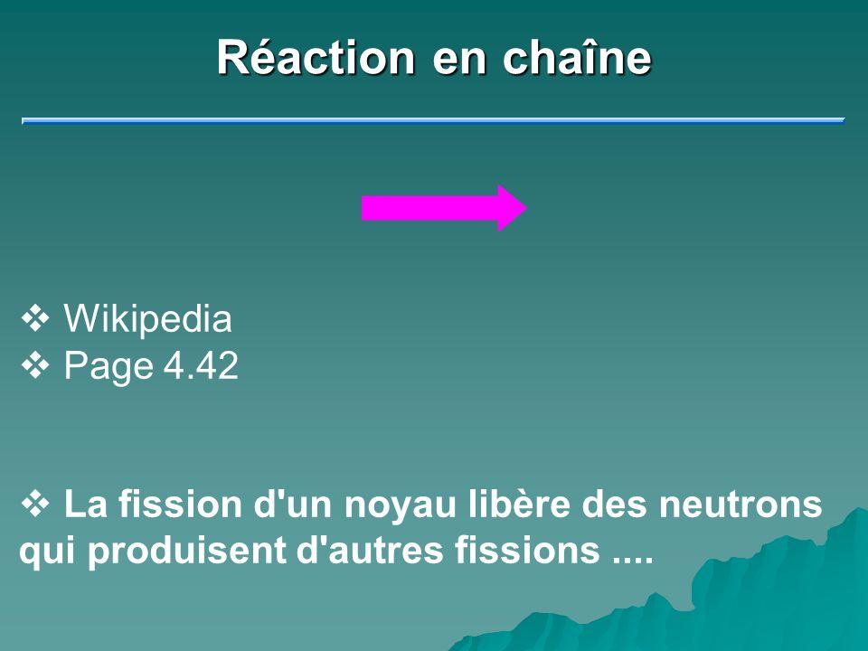 Réaction en chaîne Wikipedia Page 4.42 La fission d'un noyau libère des neutrons qui produisent d'autres fissions....