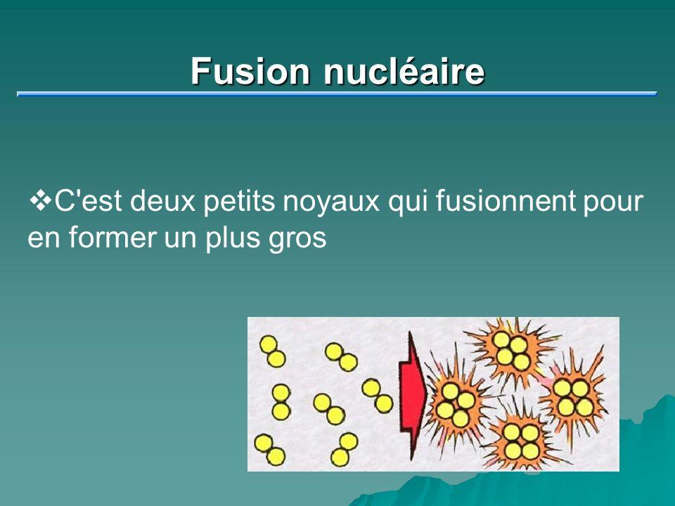 Fusion nucléaire C'est deux petits noyaux qui fusionnent pour en former un plus gros