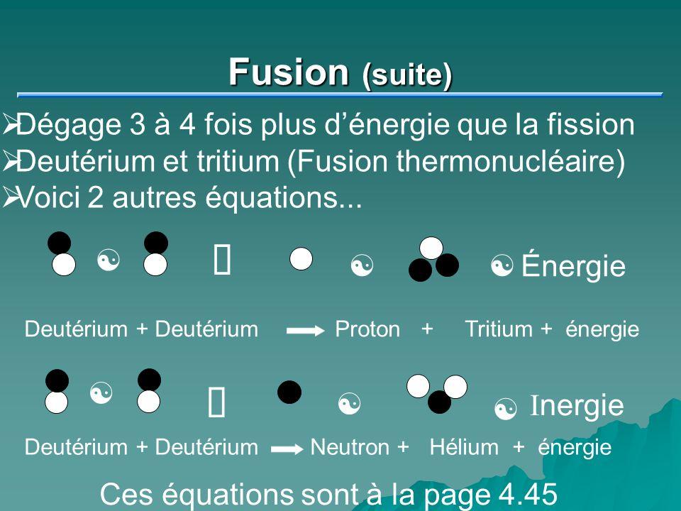 Fusion (suite) Dégage 3 à 4 fois plus dénergie que la fission Deutérium et tritium (Fusion thermonucléaire) Voici 2 autres équations... [Énergie [ º [