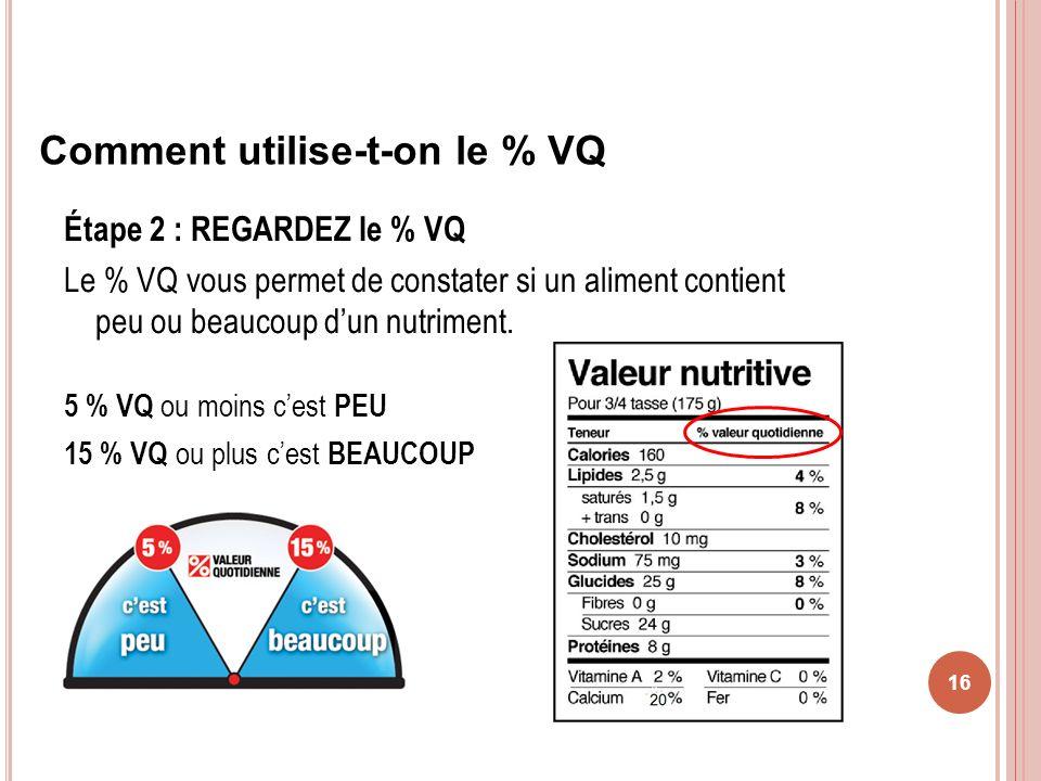 Étape 2 : REGARDEZ le % VQ Le % VQ vous permet de constater si un aliment contient peu ou beaucoup dun nutriment. 5 % VQ ou moins cest PEU 15 % VQ ou