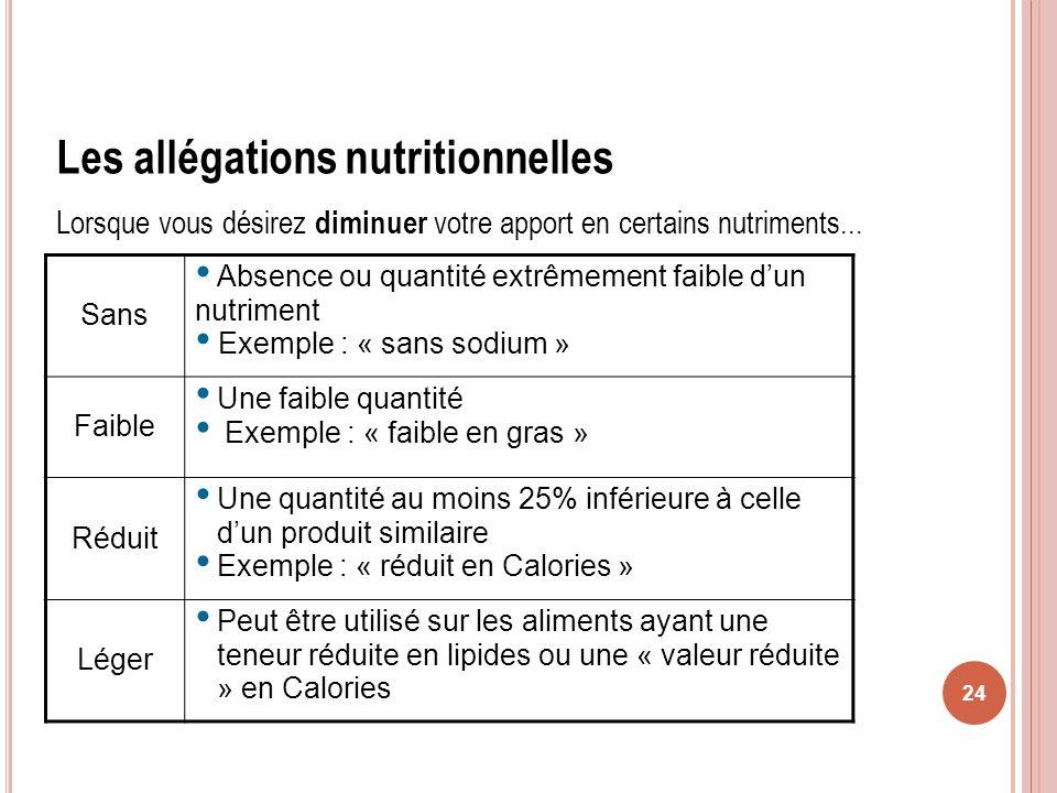 24 Les allégations nutritionnelles Lorsque vous désirez diminuer votre apport en certains nutriments... Sans Absence ou quantité extrêmement faible du