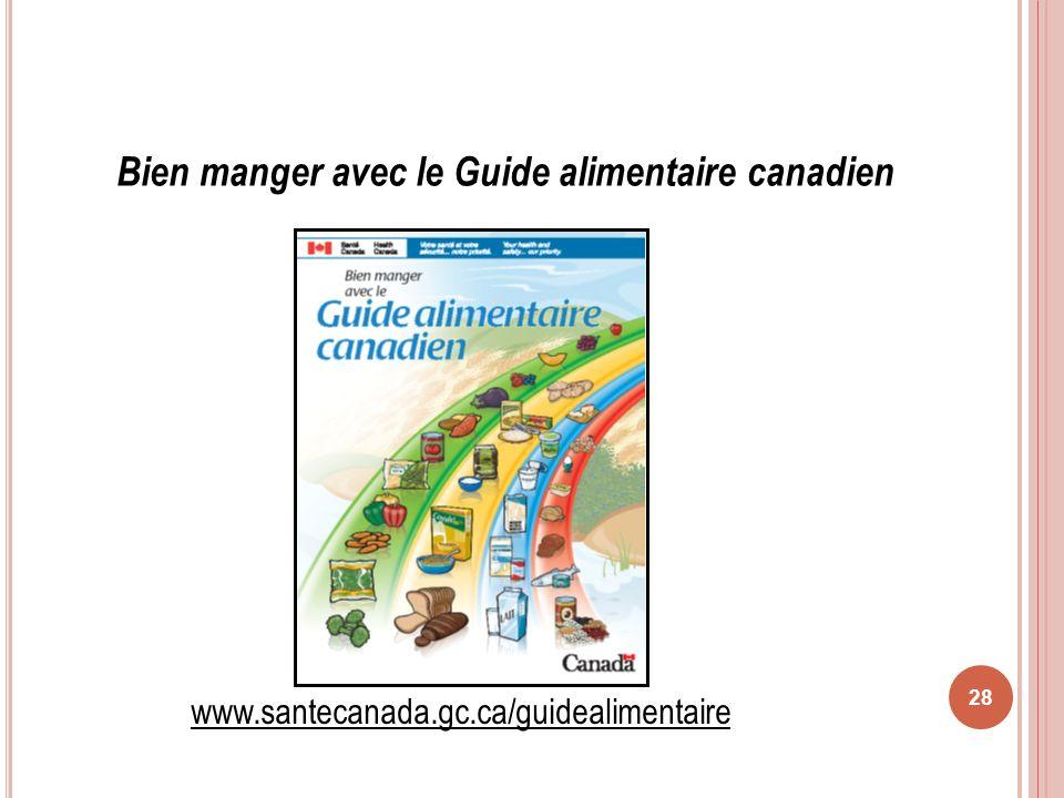 28 Bien manger avec le Guide alimentaire canadien www.santecanada.gc.ca/guidealimentaire