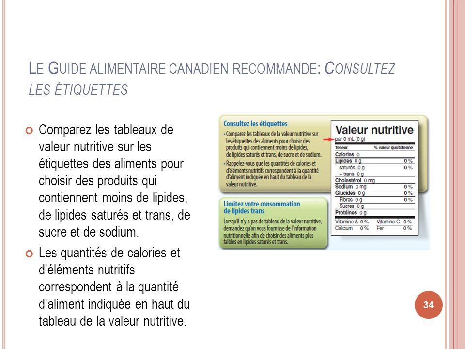 L E G UIDE ALIMENTAIRE CANADIEN RECOMMANDE : C ONSULTEZ LES ÉTIQUETTES Comparez les tableaux de valeur nutritive sur les étiquettes des aliments pour