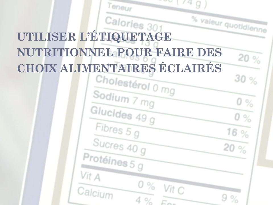 UTILISER LÉTIQUETAGE NUTRITIONNEL POUR FAIRE DES CHOIX ALIMENTAIRES ÉCLAIRÉS