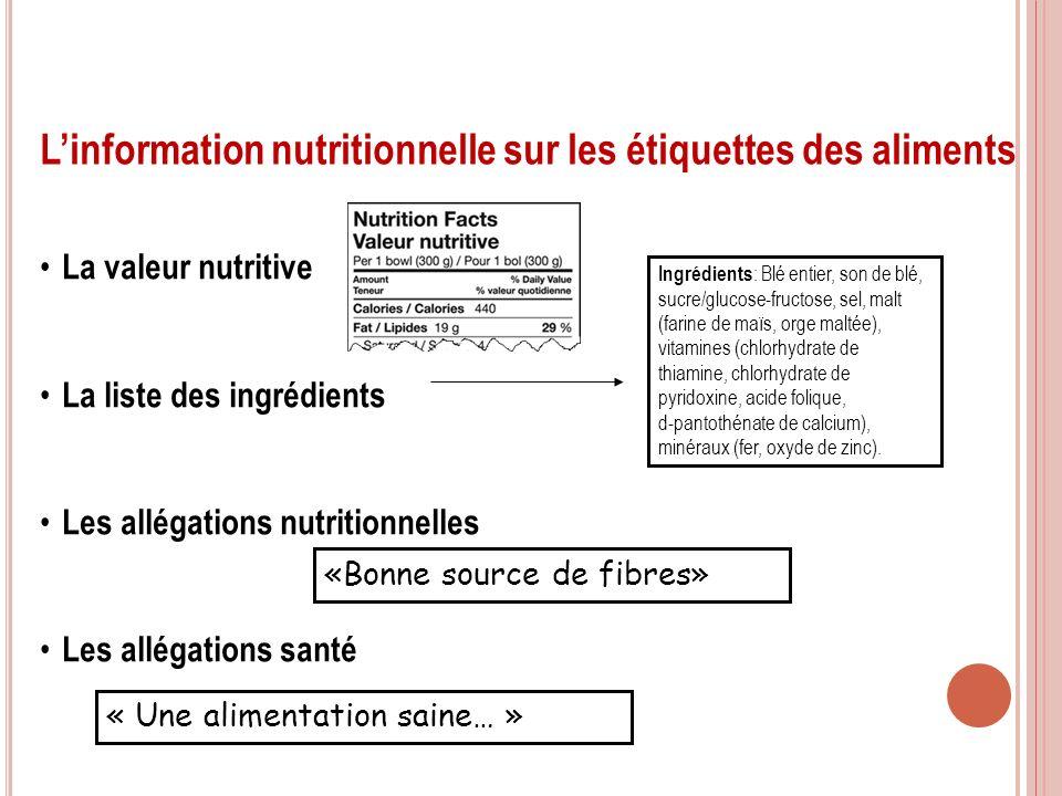 7 Linformation nutritionnelle sur les étiquettes des aliments Ingrédients : Blé entier, son de blé, sucre/glucose-fructose, sel, malt (farine de maïs,