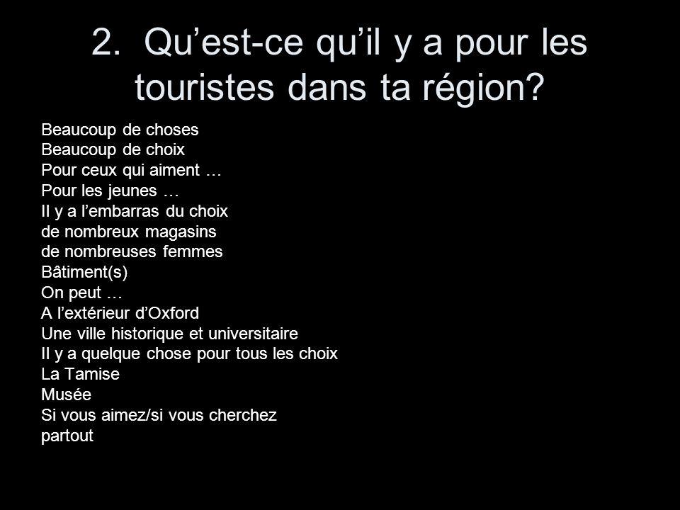 2. Quest-ce quil y a pour les touristes dans ta région? Beaucoup de choses Beaucoup de choix Pour ceux qui aiment … Pour les jeunes … Il y a lembarras