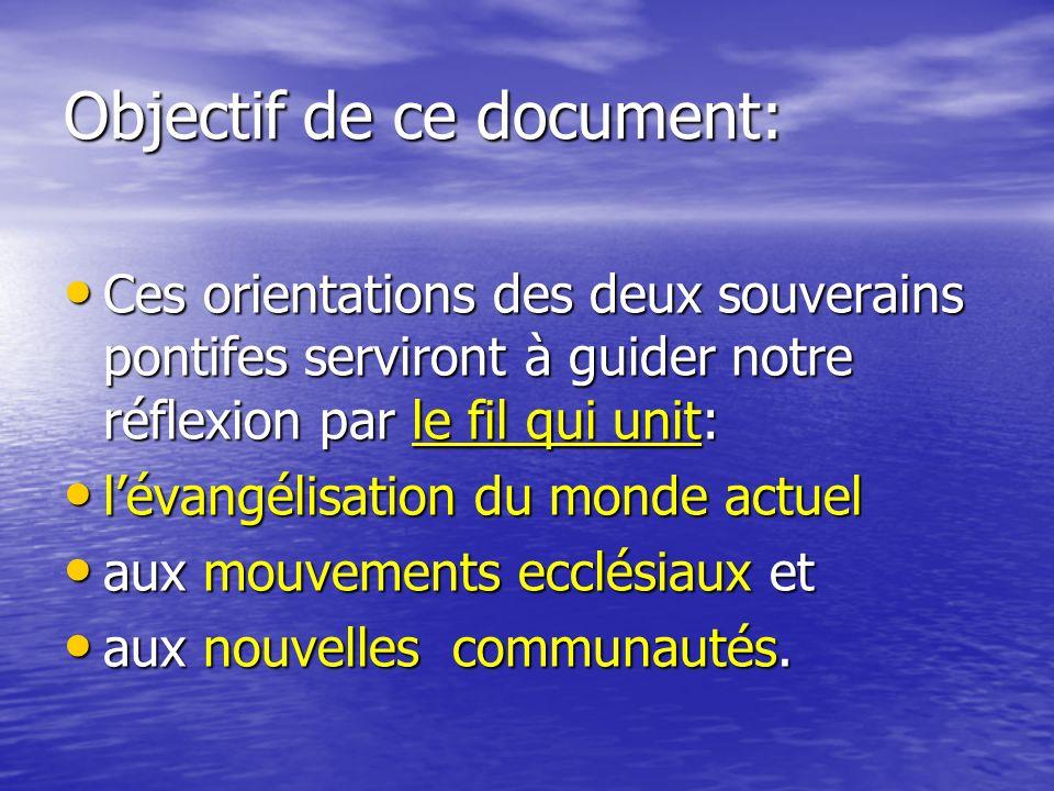 Évangélisation du monde actuel Le Pape et les Évêques Les ParoissesEtc.