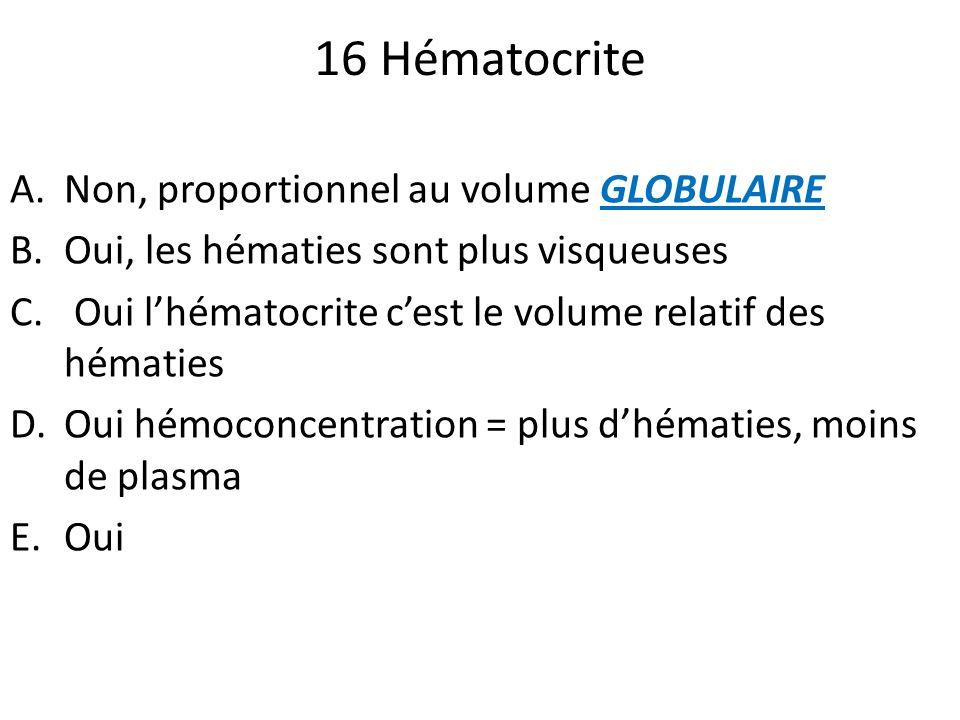 16 Hématocrite A.Non, proportionnel au volume GLOBULAIRE B.Oui, les hématies sont plus visqueuses C. Oui lhématocrite cest le volume relatif des hémat