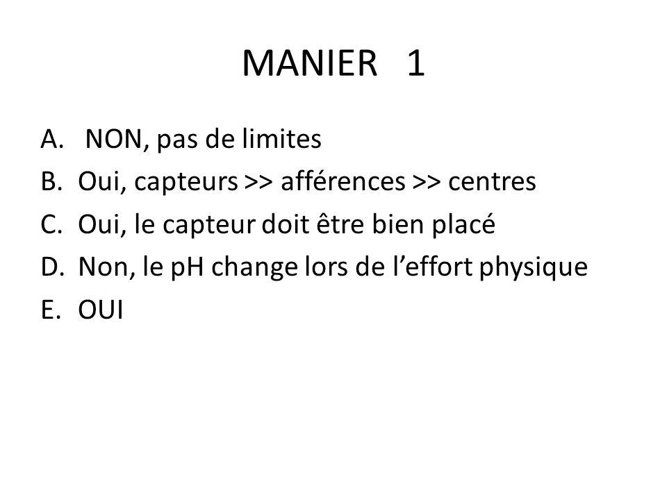 MANIER 1 A. NON, pas de limites B.Oui, capteurs >> afférences >> centres C.Oui, le capteur doit être bien placé D.Non, le pH change lors de leffort ph