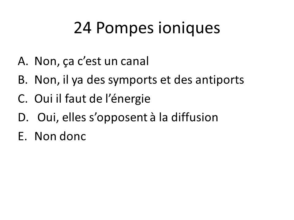 24 Pompes ioniques A.Non, ça cest un canal B.Non, il ya des symports et des antiports C.Oui il faut de lénergie D. Oui, elles sopposent à la diffusion