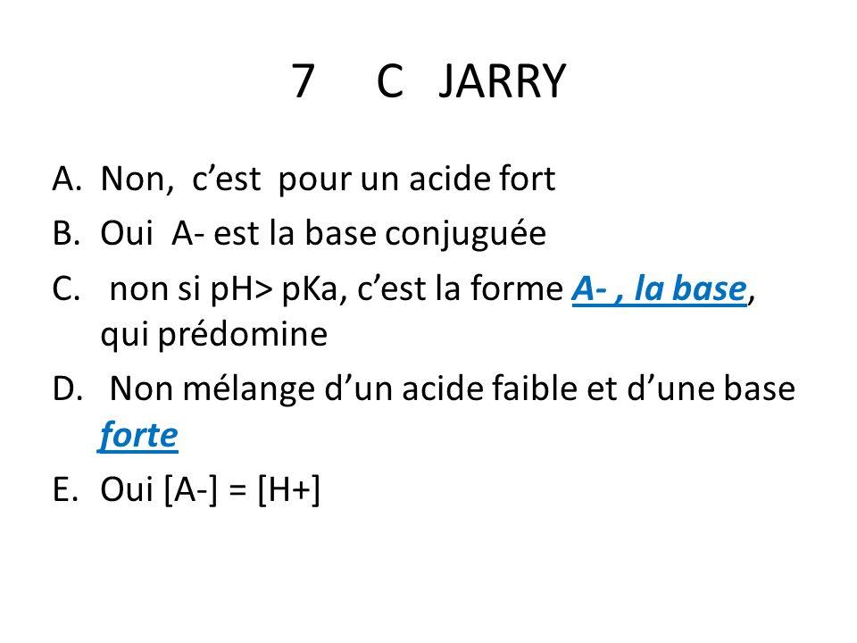 7 C JARRY A.Non, cest pour un acide fort B.Oui A- est la base conjuguée C. non si pH> pKa, cest la forme A-, la base, qui prédomine D. Non mélange dun