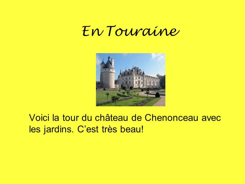 En Touraine Voici la tour du château de Chenonceau avec les jardins. Cest très beau!