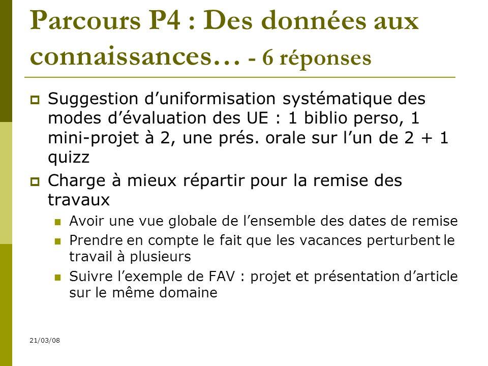 21/03/08 Parcours P4 : Des données aux connaissances… - 6 réponses Suggestion duniformisation systématique des modes dévaluation des UE : 1 biblio perso, 1 mini-projet à 2, une prés.