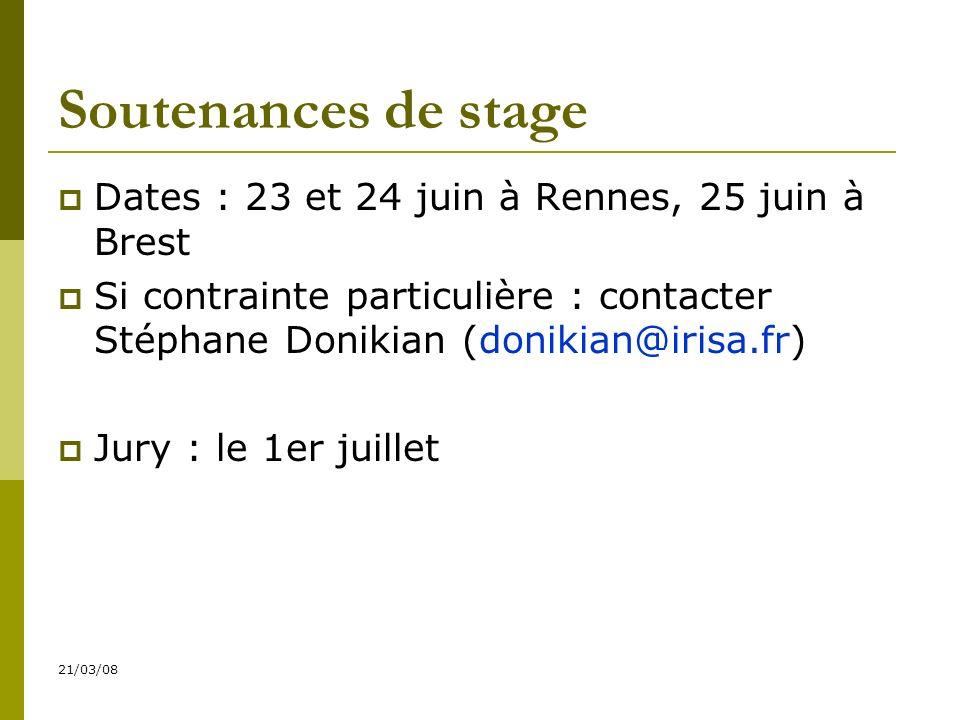 21/03/08 Soutenances de stage Dates : 23 et 24 juin à Rennes, 25 juin à Brest Si contrainte particulière : contacter Stéphane Donikian (donikian@irisa.fr) Jury : le 1er juillet
