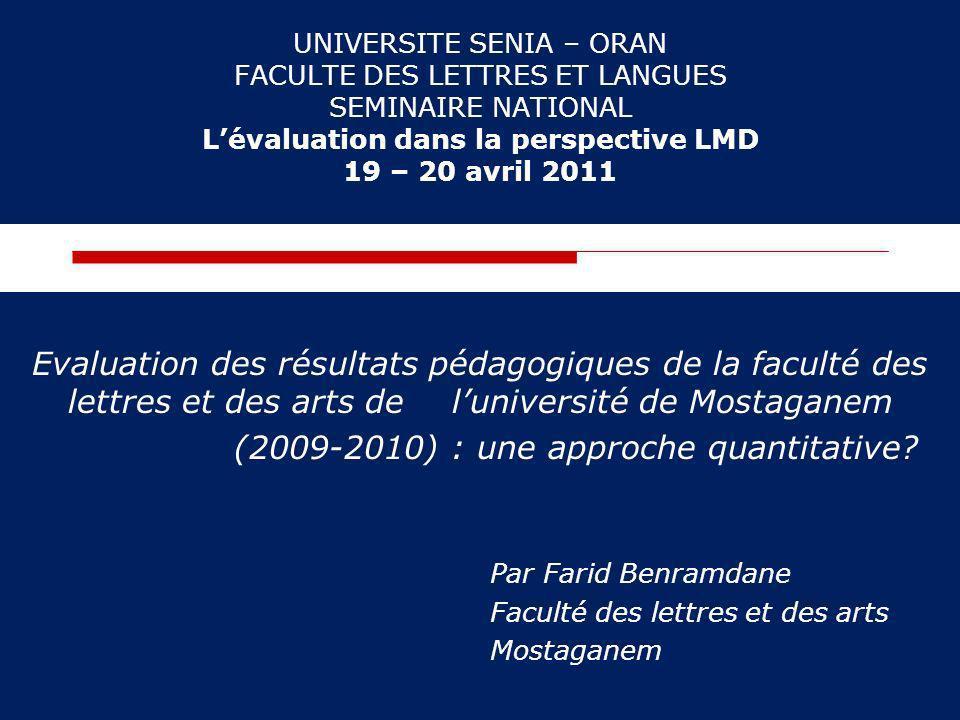 UNIVERSITE SENIA – ORAN FACULTE DES LETTRES ET LANGUES SEMINAIRE NATIONAL Lévaluation dans la perspective LMD 19 – 20 avril 2011 Evaluation des résult