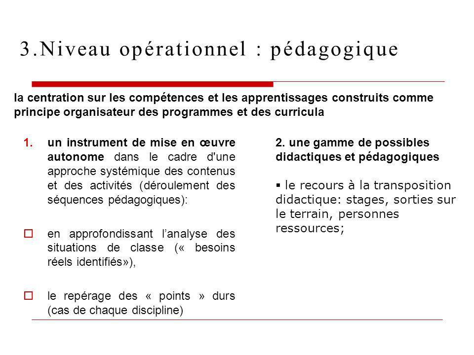 3.Niveau opérationnel : pédagogique 1.un instrument de mise en œuvre autonome dans le cadre d'une approche systémique des contenus et des activités (d