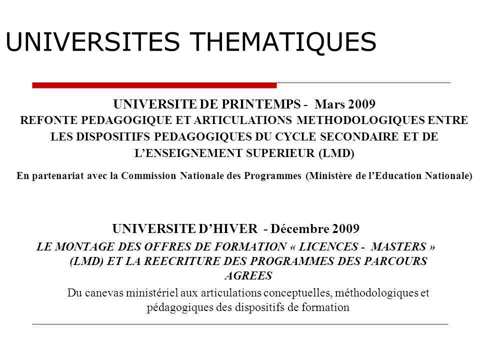 UNIVERSITES THEMATIQUES UNIVERSITE DHIVER - Décembre 2009 LE MONTAGE DES OFFRES DE FORMATION « LICENCES - MASTERS » (LMD) ET LA REECRITURE DES PROGRAM