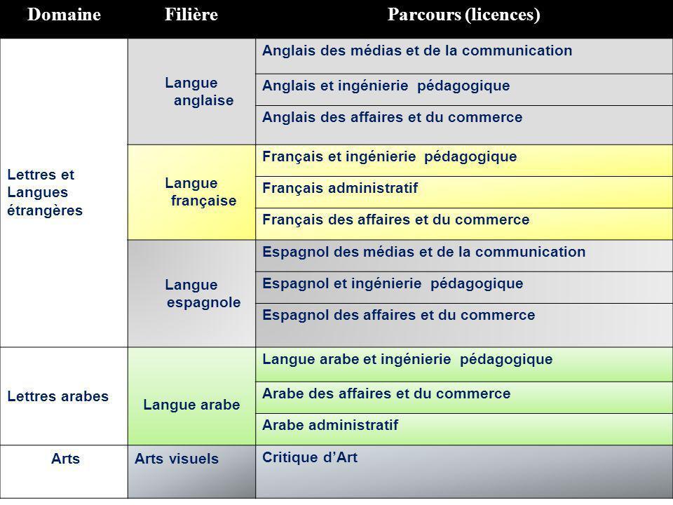 DomaineFilièreParcours (licences) Lettres et Langues étrangères Langue anglaise Anglais des médias et de la communication Anglais et ingénierie pédago