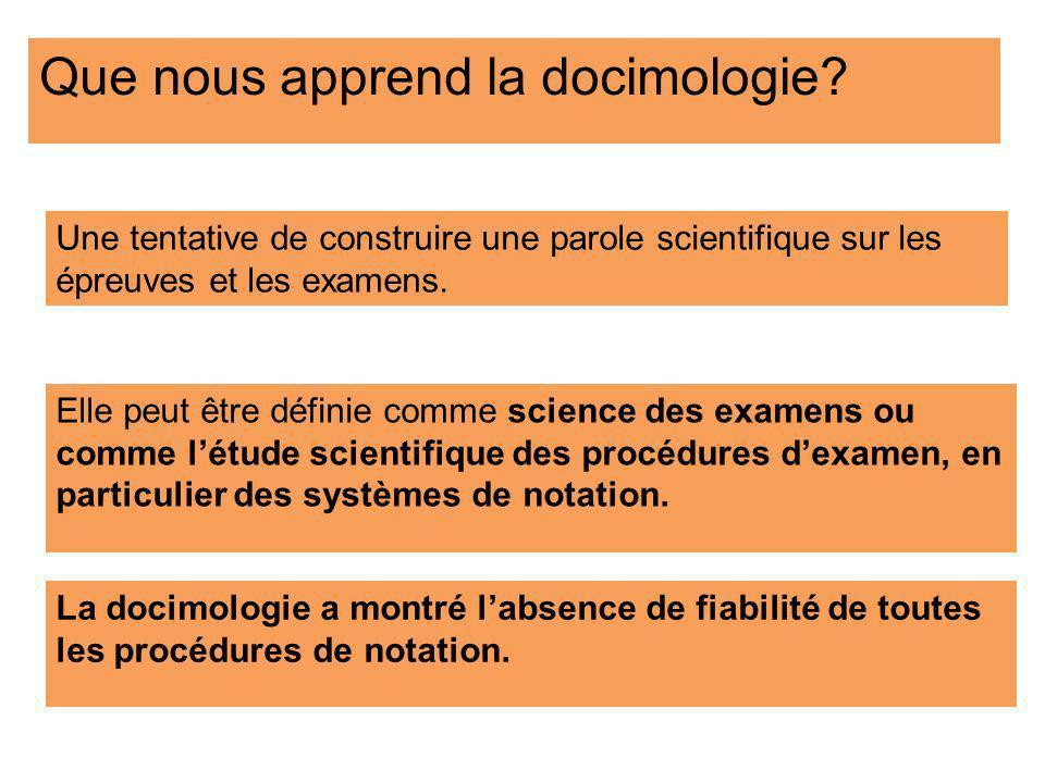 Une tentative de construire une parole scientifique sur les épreuves et les examens. Que nous apprend la docimologie? Elle peut être définie comme sci