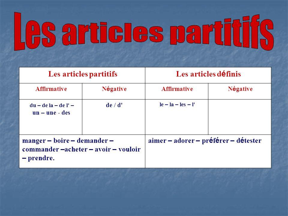 Les articles d é finis Les articles partitifs N é gative Affirmative N é gative Affirmative le – la – les – l' de / d' du – de la – de l' – un – une -