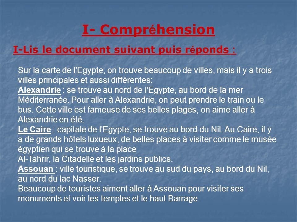 I- Compr é hension I-Lis le document suivant puis r é ponds : Sur la carte de l'Egypte, on trouve beaucoup de villes, mais il y a trois villes princip