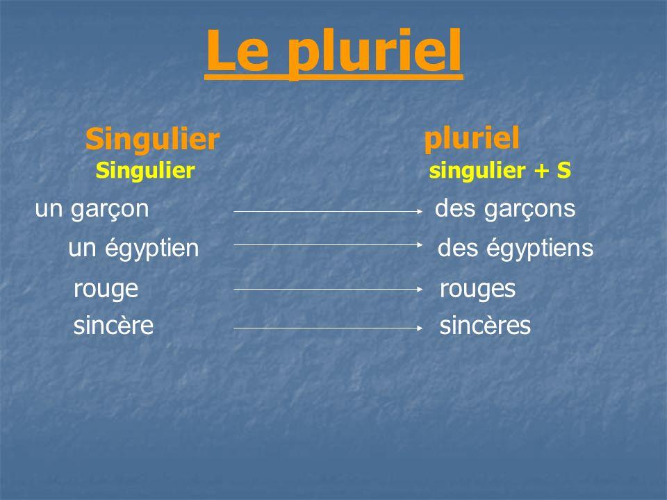 Le pluriel Singulierpluriel Singulier pluriel Singuliersingulier + S un garçondes garçons un égyptien des égyptiens rouge rouges sinc è re sinc è res