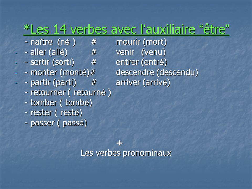 *Les 14 verbes avec l auxiliaire être *Les 14 verbes avec l auxiliaire être - na î tre (n é )#mourir (mort) - - aller (all é )#venir(venu) - - sortir