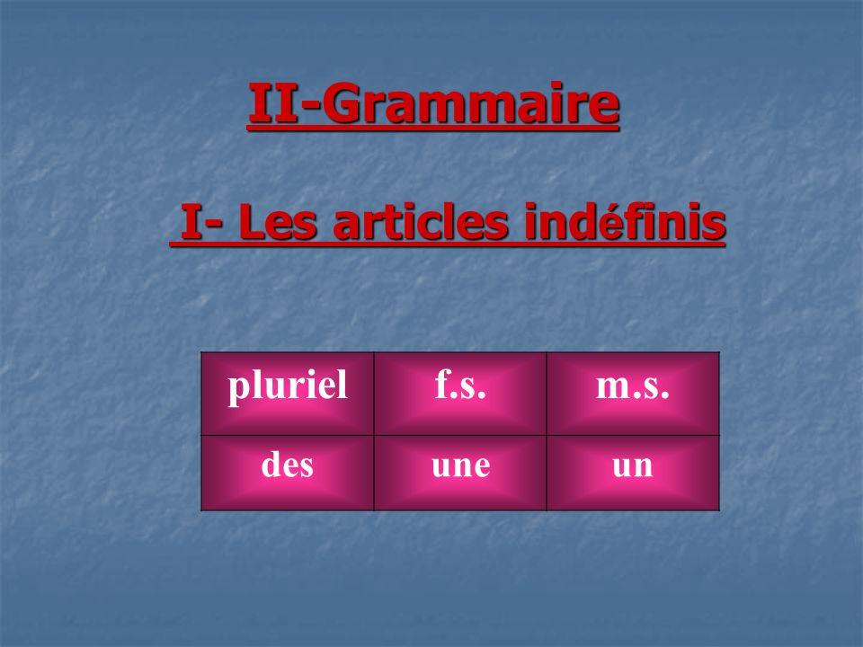 II-Grammaire I- Les articles ind é finis I- Les articles ind é finis plurielf.s.m.s. desuneun