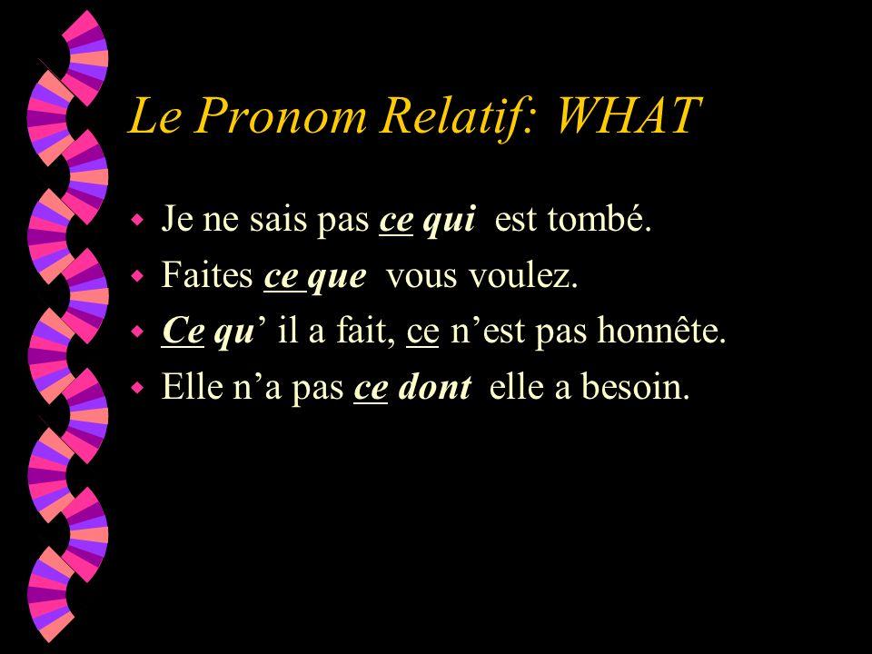 Le Pronom Relatif: WHAT w Je ne sais pas ce qui est tombé. w Faites ce que vous voulez. w Ce qu il a fait, ce nest pas honnête. w Elle na pas ce dont