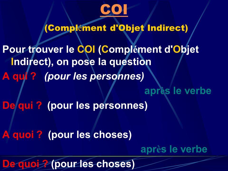 COD COD (Compl é ment d'Objet Direct) Pour trouver le COD (Compl é ment d'Objet Direct), on pose la question Qui ? (pour les personnes) apr è s le ver