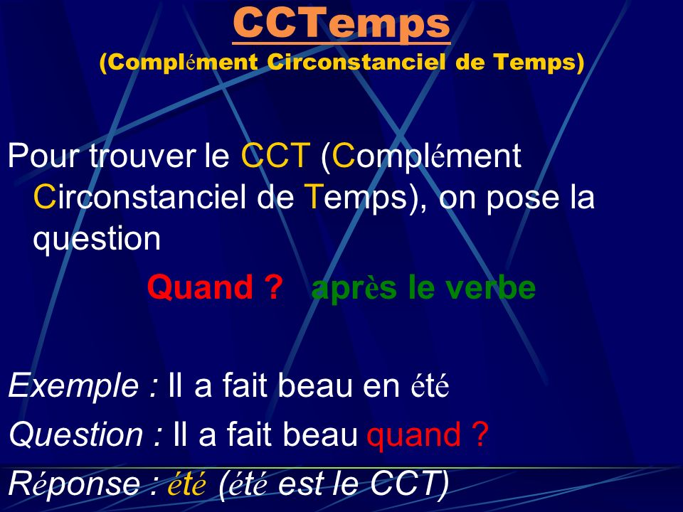 CCLieu CCLieu (Compl é ment Circonstanciel de Lieu) Pour trouver le CCL (Compl é ment Circonstanciel de Lieu), on pose la question O ù ? apr è s le ve