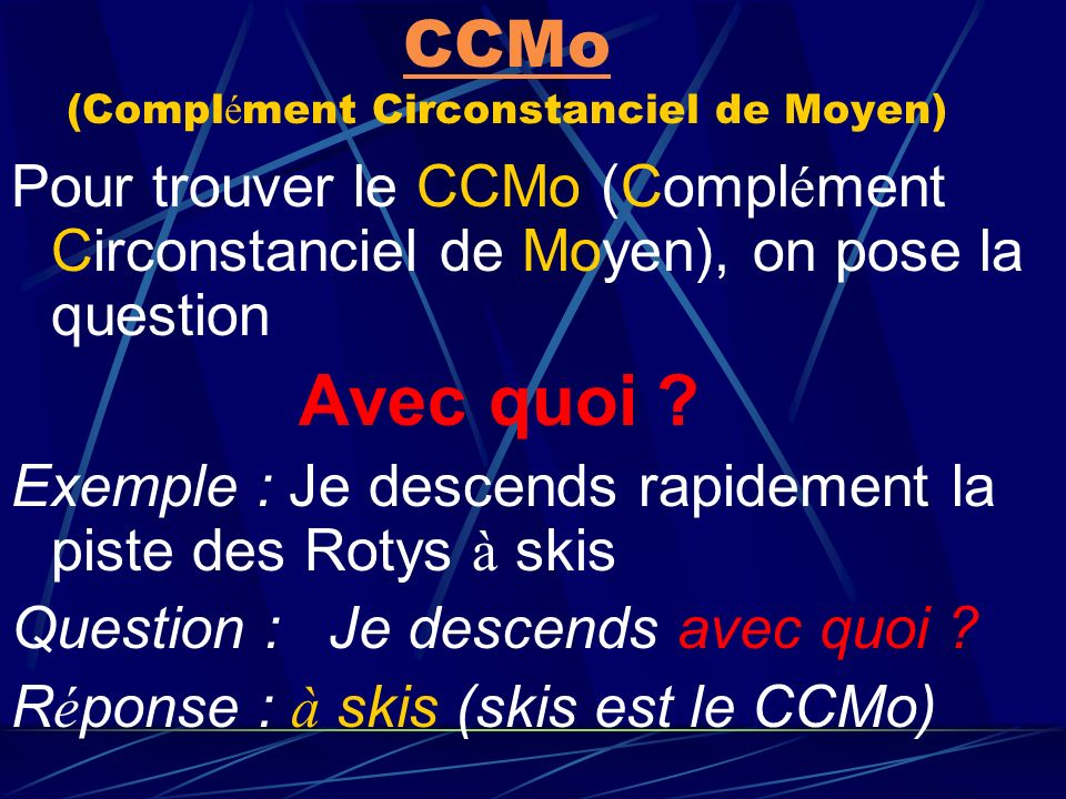 CCMa CCMa (Compl é ment circonstanciel de Mani è re) Pour trouver le CCMa (Compl é ment Circonstanciel de Mani è re), on pose la question Comment ? Ex