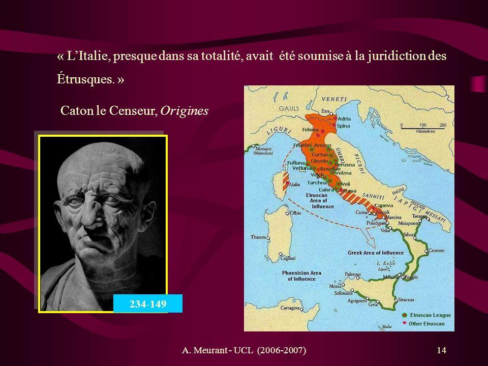 A. Meurant - UCL (2006-2007)14 « LItalie, presque dans sa totalité, avait été soumise à la juridiction des Étrusques. » Caton le Censeur, Origines 234