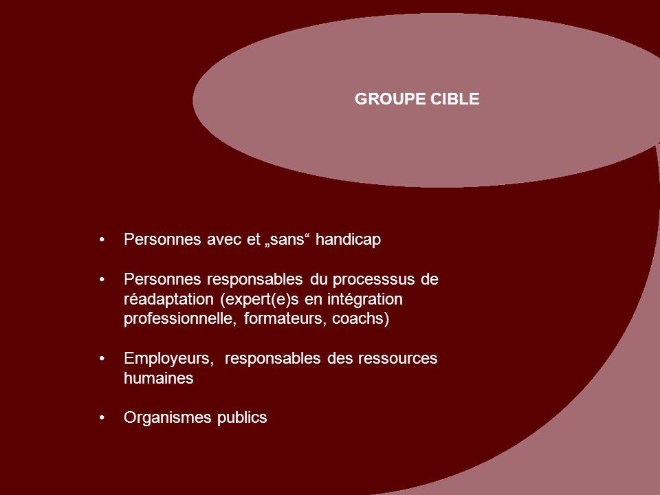 GROUPE CIBLE Personnes avec et sans handicap Personnes responsables du processsus de réadaptation (expert(e)s en intégration professionnelle, formateu