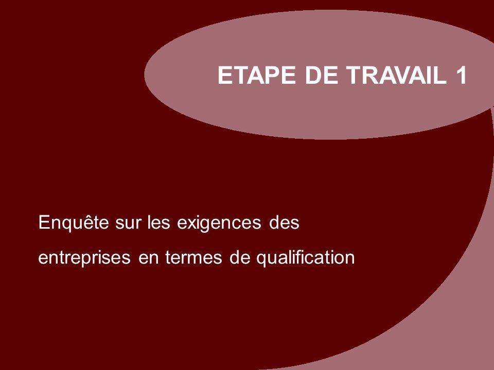 ETAPE DE TRAVAIL 1 Enquête sur les exigences des entreprises en termes de qualification